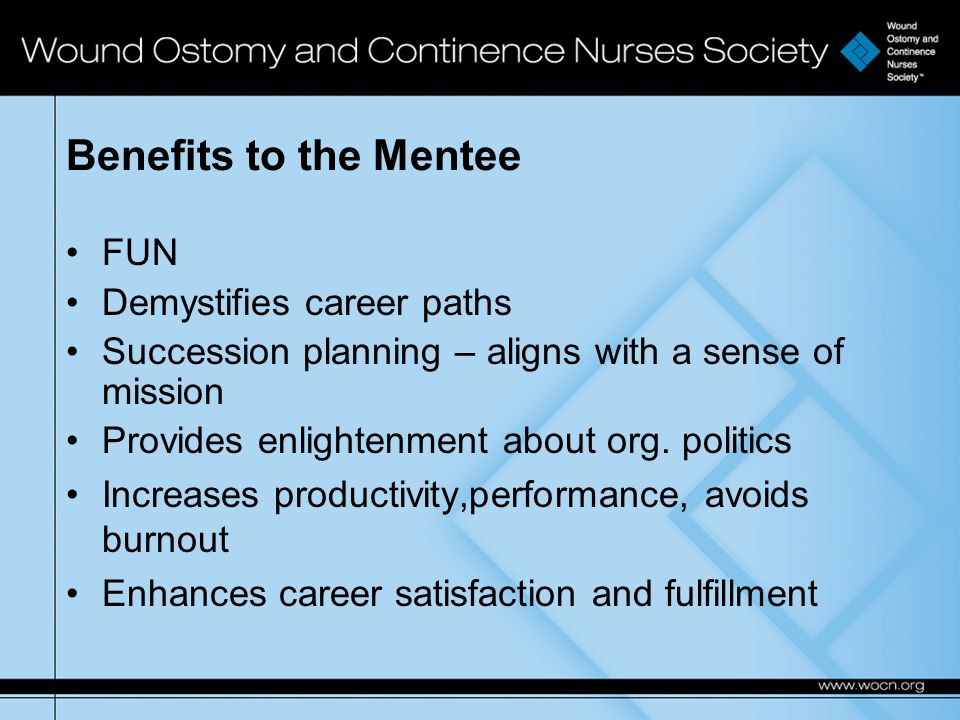 Benefits to the Mentee FUN Demystifies career paths Succession planning – aligns with a sense of mission Provides enlightenment about org.