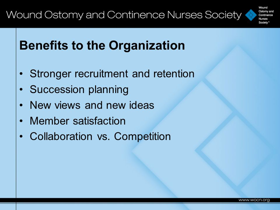 Benefits to the Organization Stronger recruitment and retention Succession planning New views and new ideas Member satisfaction Collaboration vs.