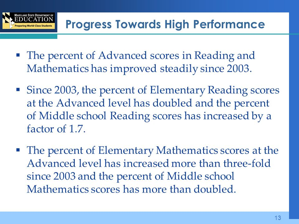Progress Towards High Performance  The percent of Advanced scores in Reading and Mathematics has improved steadily since 2003.  Since 2003, the perc