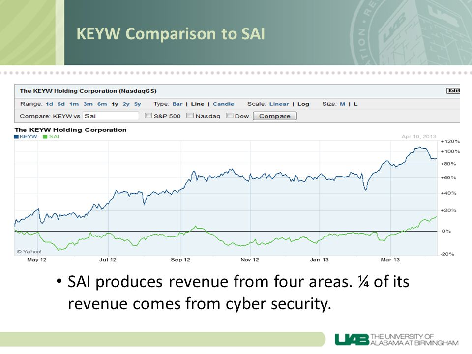 SAI produces revenue from four areas. ¼ of its revenue comes from cyber security.