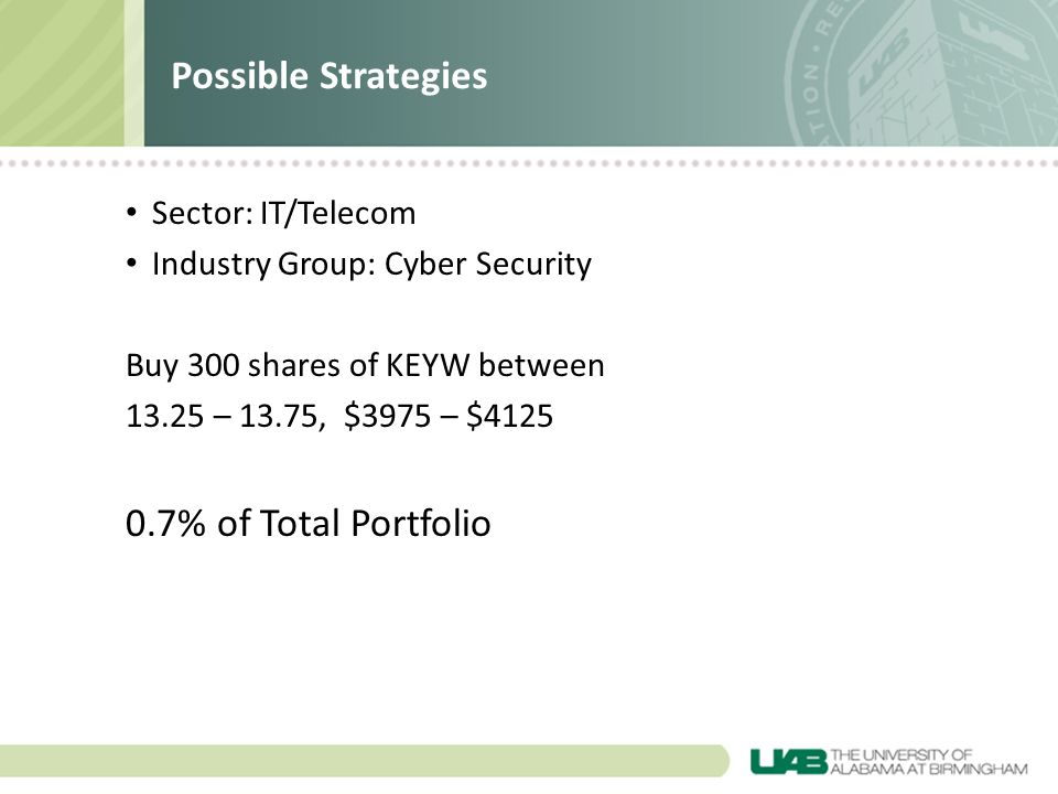 Sector: IT/Telecom Industry Group: Cyber Security Buy 300 shares of KEYW between 13.25 – 13.75, $3975 – $4125 0.7% of Total Portfolio Possible Strategies