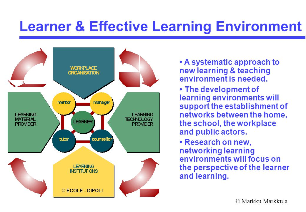 © Markku Markkula Learner & Effective Learning Environment A systematic approach to new learning & teaching environment is needed.
