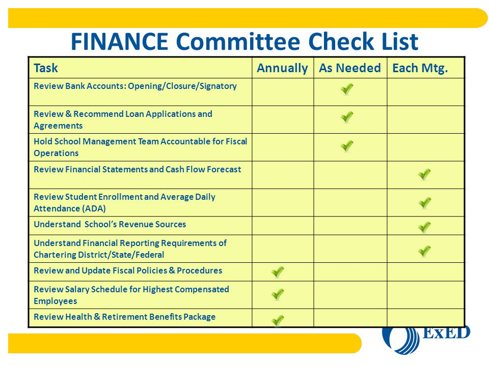 FINANCE Committee Check List TaskAnnuallyAs NeededEach Mtg.
