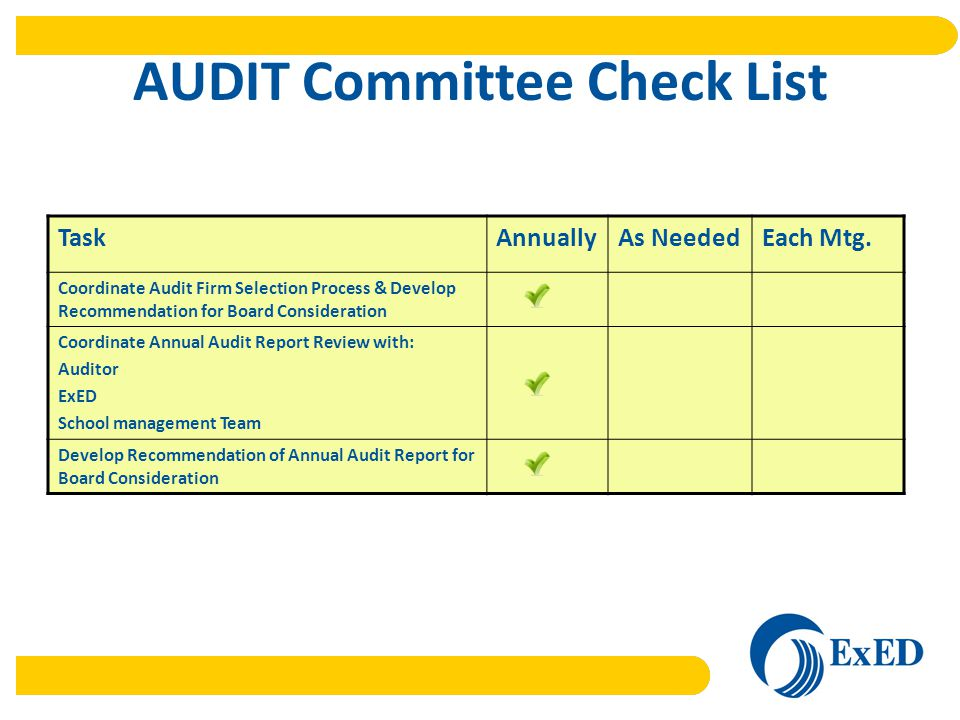 AUDIT Committee Check List TaskAnnuallyAs NeededEach Mtg.