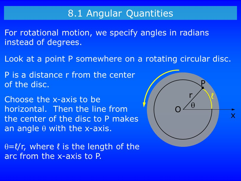 8.1 Angular Quantities Look at a point P somewhere on a rotating circular disc. For rotational motion, we specify angles in radians instead of degrees