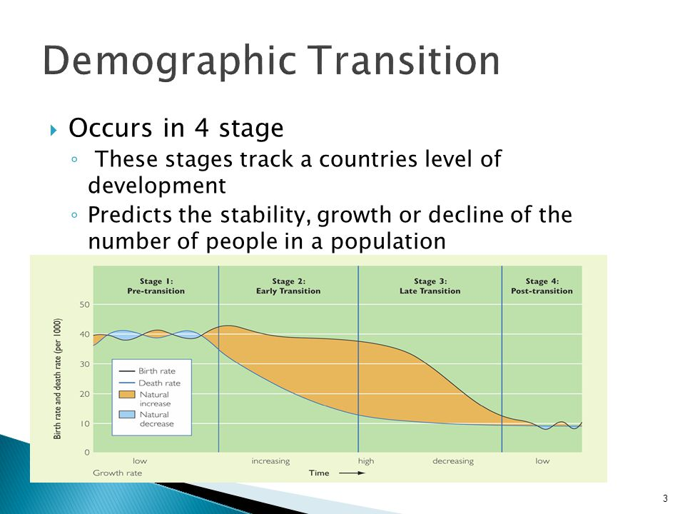 Demographic Transition  Occurs in 4 stage ◦ These stages track a countries level of development ◦ Predicts the stability, growth or decline of the nu