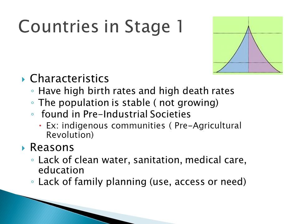  Characteristics ◦ Have high birth rates and high death rates ◦ The population is stable ( not growing) ◦ found in Pre-Industrial Societies  Ex: ind