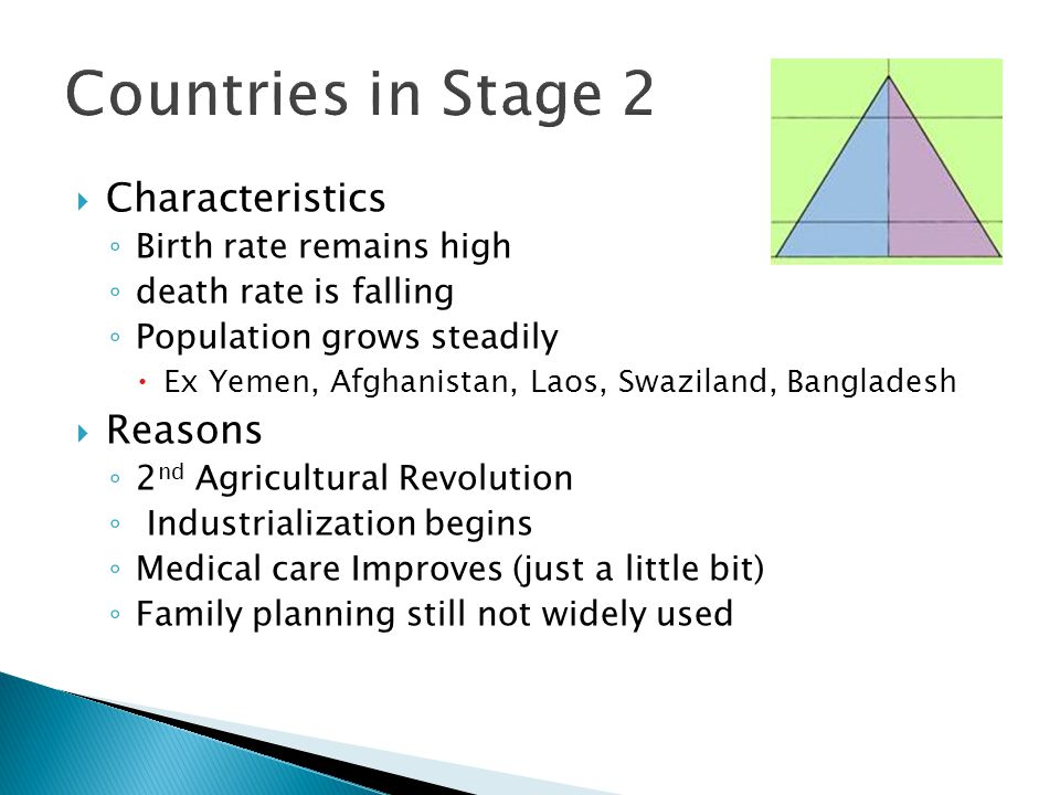  Characteristics ◦ Birth rate remains high ◦ death rate is falling ◦ Population grows steadily  Ex Yemen, Afghanistan, Laos, Swaziland, Bangladesh  Reasons ◦ 2 nd Agricultural Revolution ◦ Industrialization begins ◦ Medical care Improves (just a little bit) ◦ Family planning still not widely used