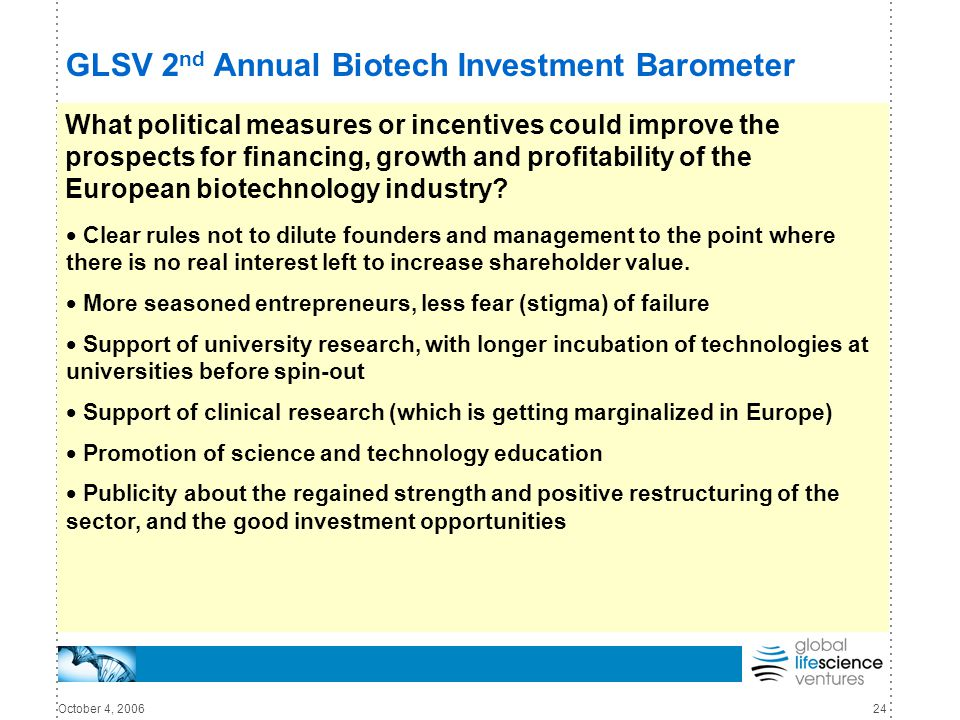 October 4, 200624 GLSV 2 nd Annual Biotech Investment Barometer What political measures or incentives could improve the prospects for financing, growth and profitability of the European biotechnology industry.