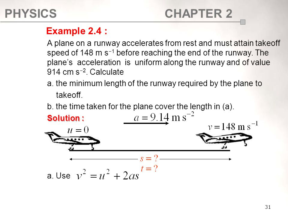 PHYSICSCHAPTER 2 31 A plane on a runway accelerates from rest and must attain takeoff speed of 148 m s  1 before reaching the end of the runway. The