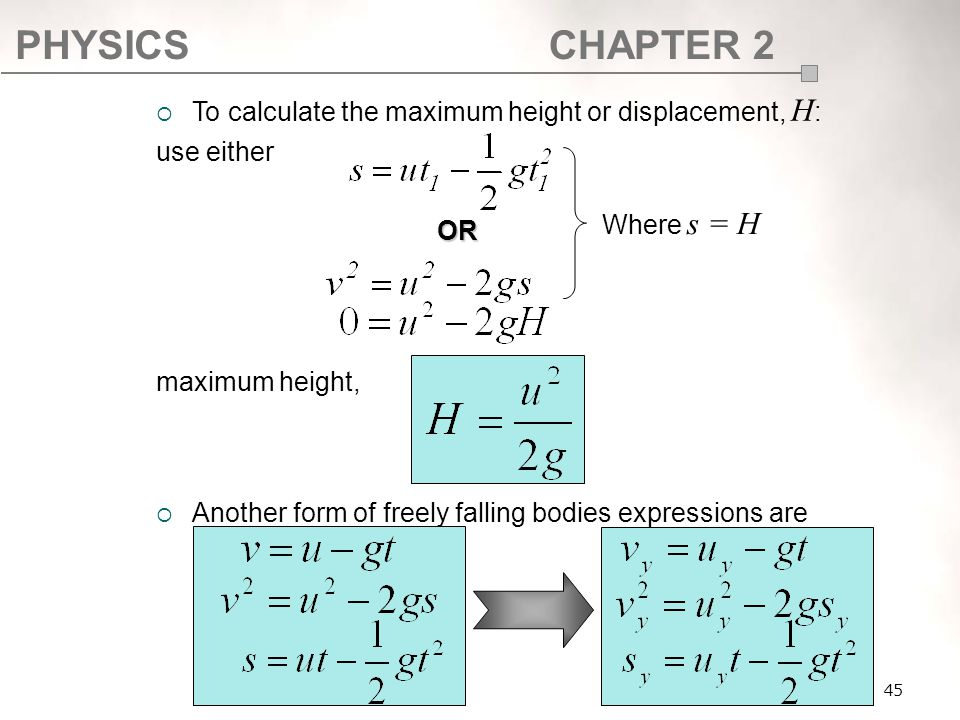 PHYSICSCHAPTER 2 45  To calculate the maximum height or displacement, H : use either maximum height,  Another form of freely falling bodies expressi