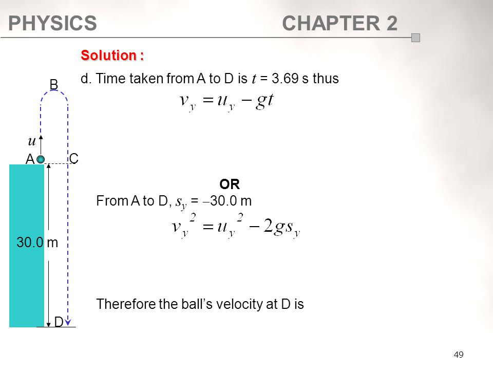 PHYSICSCHAPTER 2 49 Solution : d. Time taken from A to D is t = 3.69 s thus From A to D, s y =  30.0 m Therefore the ball's velocity at D is A B C D