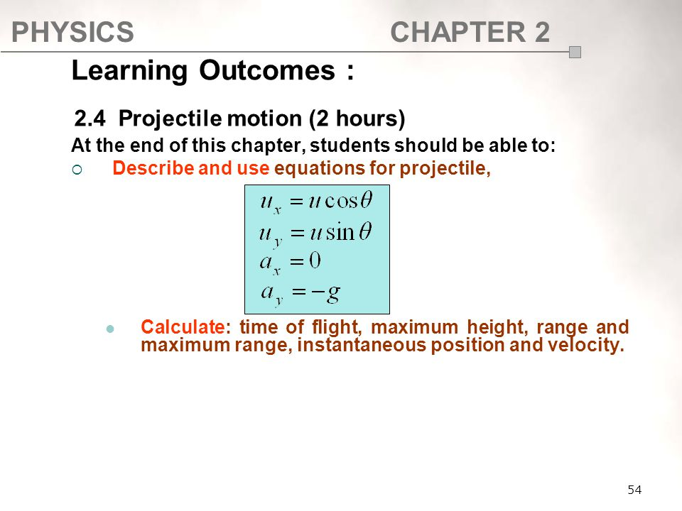 PHYSICSCHAPTER 2 Learning Outcomes : At the end of this chapter, students should be able to:  Describe and use equations for projectile, Calculate: t