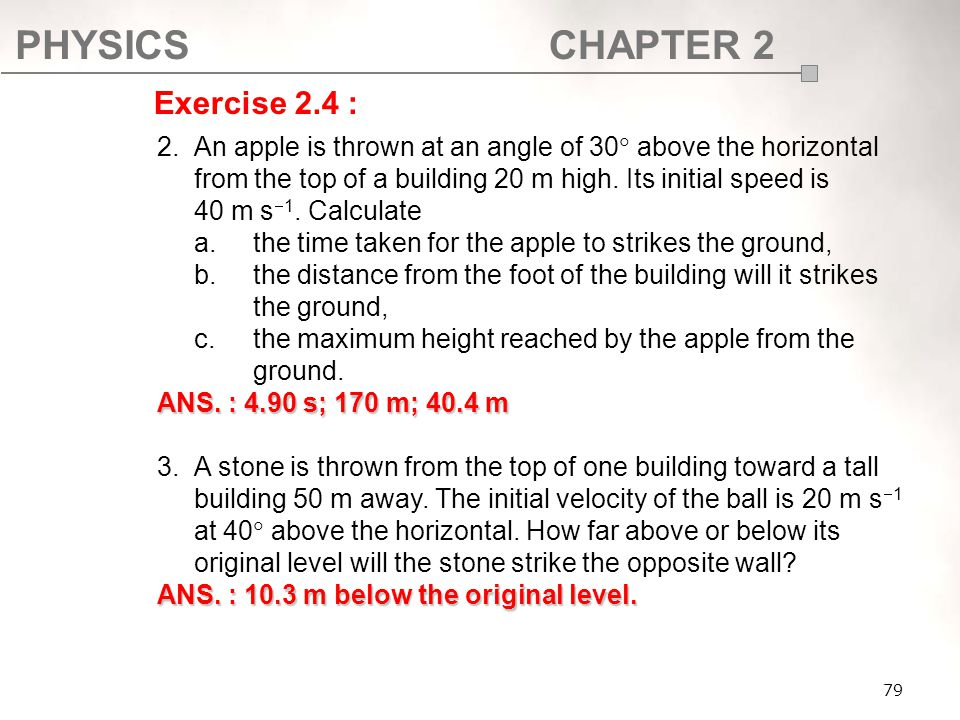 PHYSICSCHAPTER 2 79 2.An apple is thrown at an angle of 30  above the horizontal from the top of a building 20 m high. Its initial speed is 40 m s 