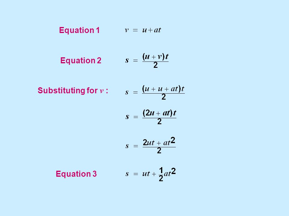 Equation 1 Equation 2 Substituting for v : Equation 3