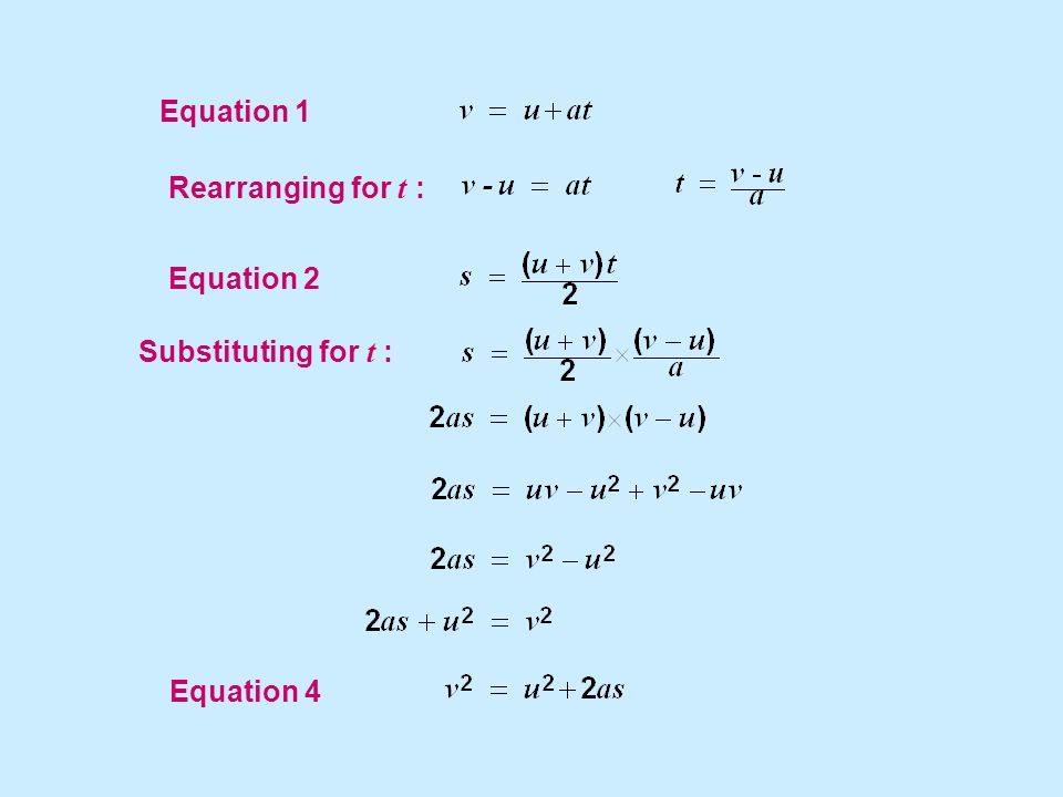 Equation 1 Equation 2 Rearranging for t : Equation 4 Substituting for t :