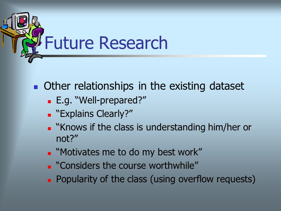 Future Research Other relationships in the existing dataset E.g.