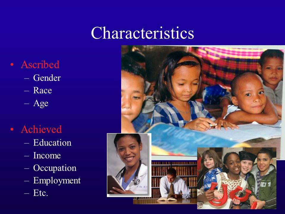 Characteristics Ascribed –Gender –Race –Age Achieved –Education –Income –Occupation –Employment –Etc.
