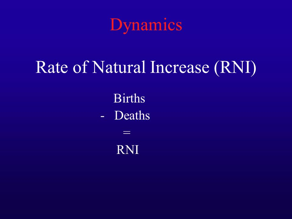Dynamics Rate of Natural Increase (RNI) Births - Deaths = RNI