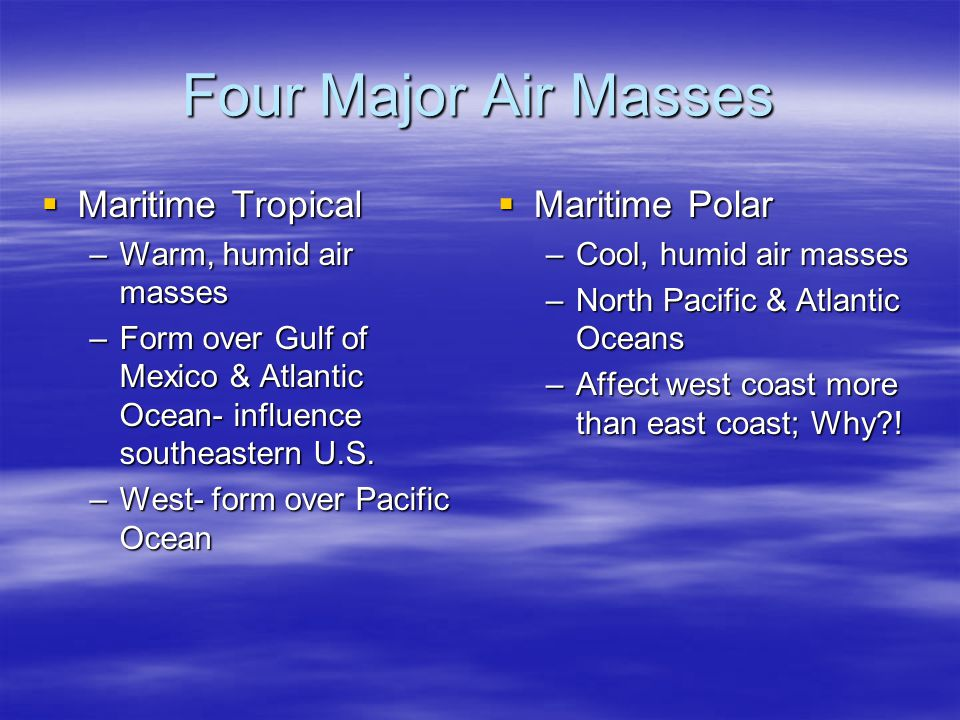Four Major Air Masses  Maritime Tropical –Warm, humid air masses –Form over Gulf of Mexico & Atlantic Ocean- influence southeastern U.S.