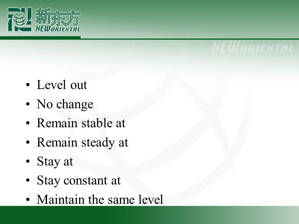 Level out No change Remain stable at Remain steady at Stay at Stay constant at Maintain the same level