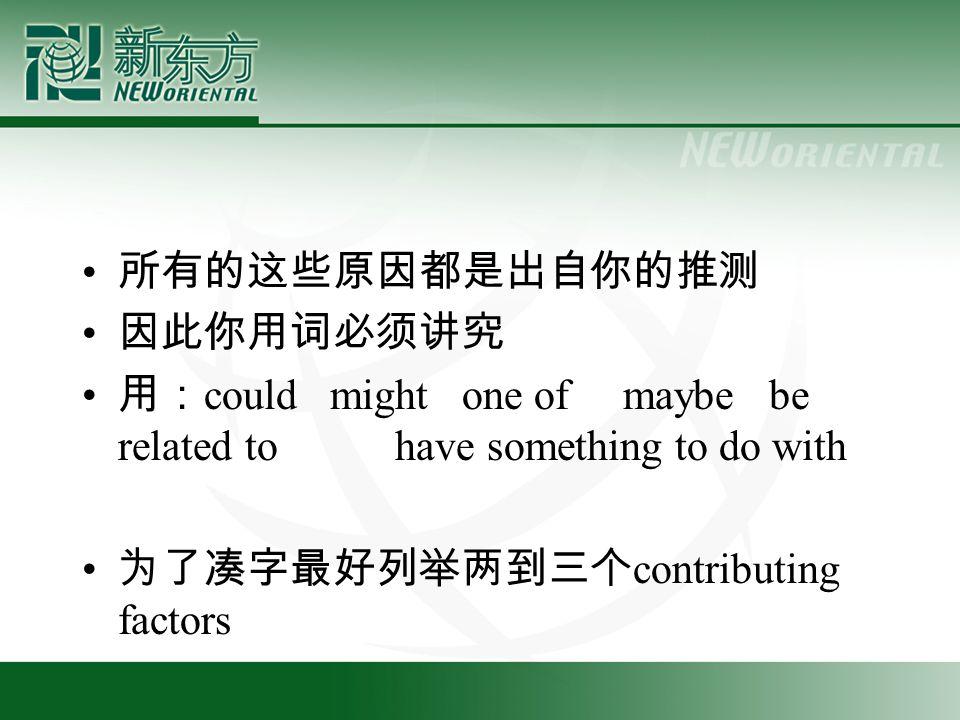 所有的这些原因都是出自你的推测 因此你用词必须讲究 用: could might one of maybe be related to have something to do with 为了凑字最好列举两到三个 contributing factors