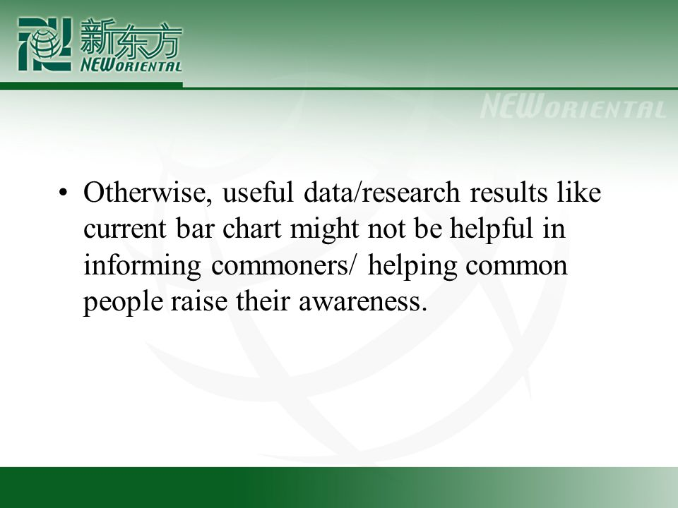 Otherwise, useful data/research results like current bar chart might not be helpful in informing commoners/ helping common people raise their awareness.