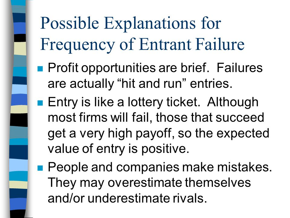 Possible Explanations for Frequency of Entrant Failure n Profit opportunities are brief.