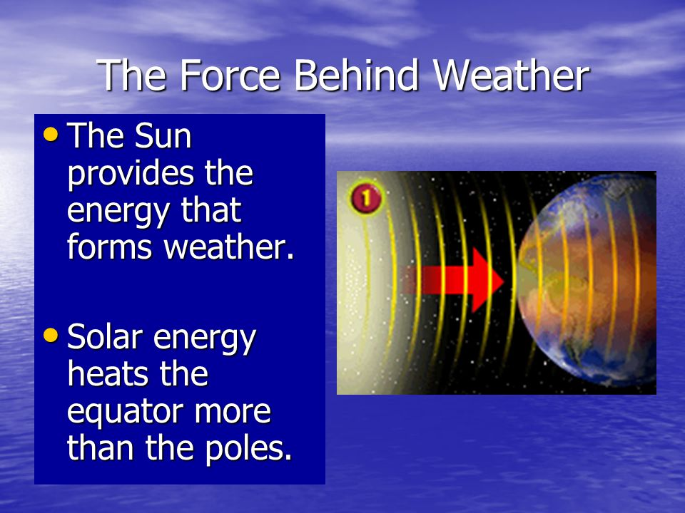 The Force Behind Weather As land or the ocean warms, it heats the air next to it and this air begins rising.