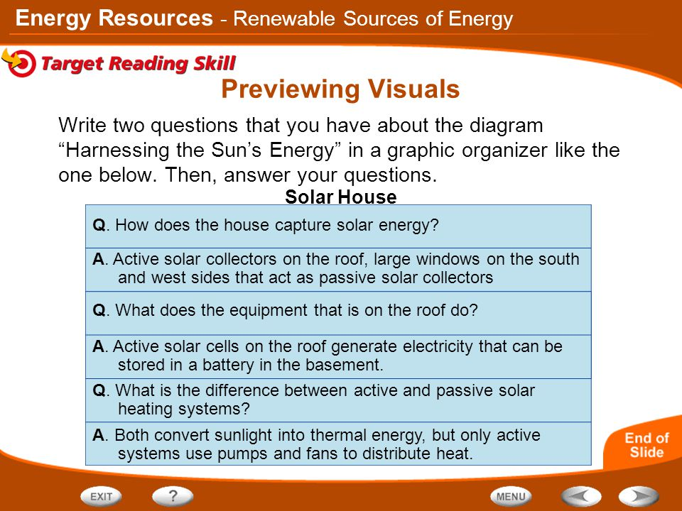 """Energy Resources Write two questions that you have about the diagram """"Harnessing the Sun's Energy"""" in a graphic organizer like the one below. Then, an"""