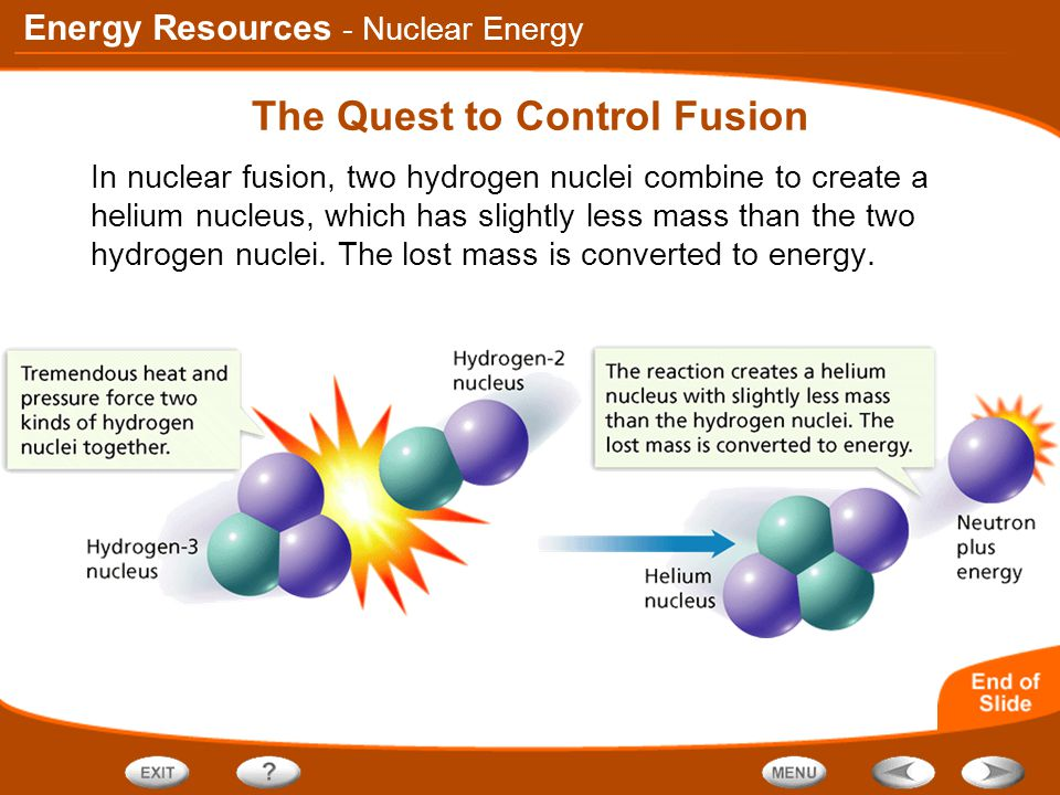 Energy Resources The Quest to Control Fusion In nuclear fusion, two hydrogen nuclei combine to create a helium nucleus, which has slightly less mass t