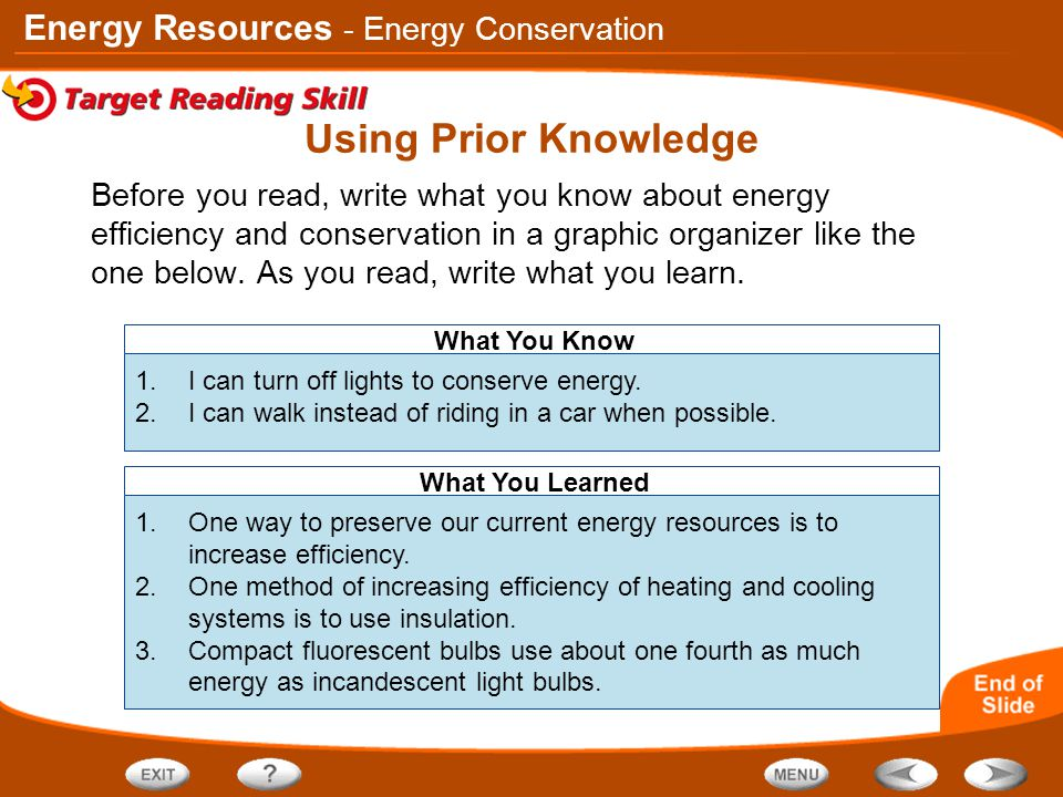 Energy Resources What You Know What You Learned Using Prior Knowledge Before you read, write what you know about energy efficiency and conservation in