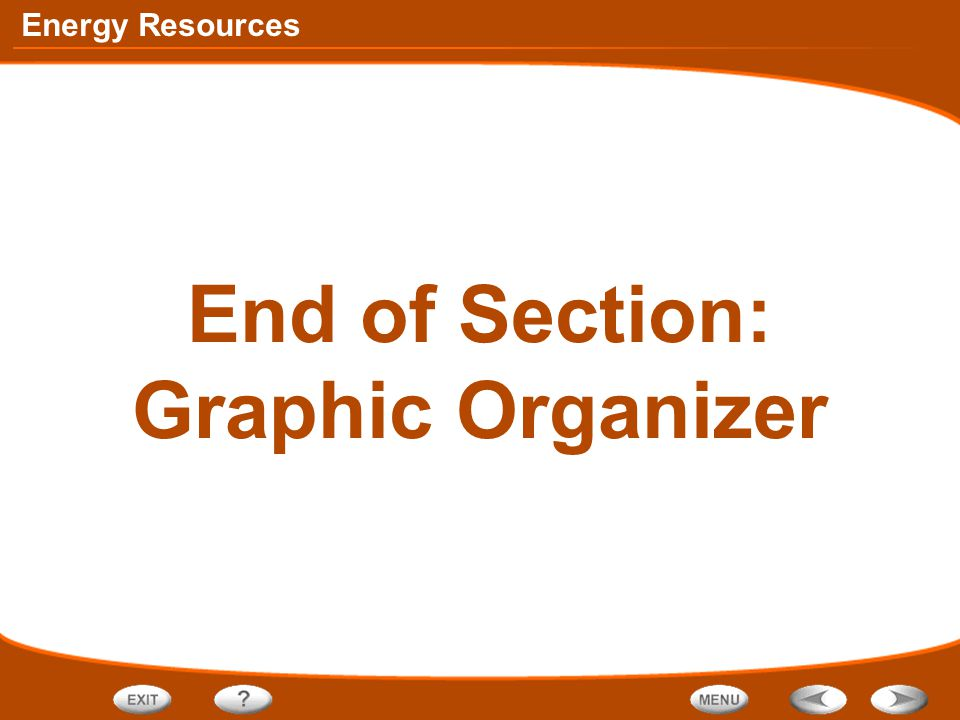 Energy Resources End of Section: Graphic Organizer
