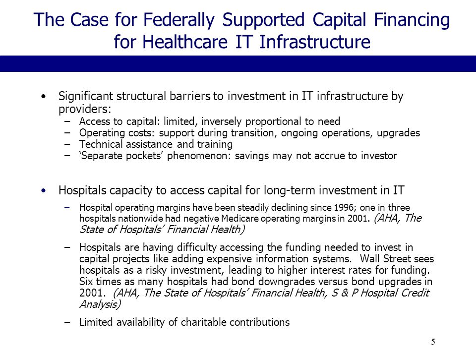 5 The Case for Federally Supported Capital Financing for Healthcare IT Infrastructure Significant structural barriers to investment in IT infrastructure by providers: –Access to capital: limited, inversely proportional to need –Operating costs: support during transition, ongoing operations, upgrades –Technical assistance and training –'Separate pockets' phenomenon: savings may not accrue to investor Hospitals capacity to access capital for long-term investment in IT –Hospital operating margins have been steadily declining since 1996; one in three hospitals nationwide had negative Medicare operating margins in 2001.