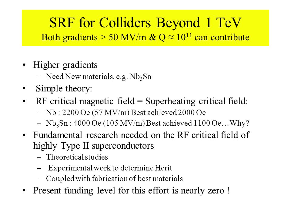 SRF for Colliders Beyond 1 TeV Both gradients > 50 MV/m & Q ≈ 10 11 can contribute Higher gradients –Need New materials, e.g.