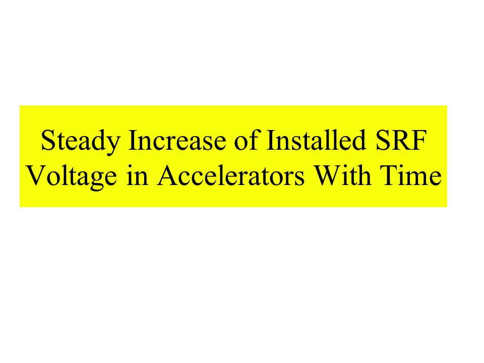 Steady Increase of Installed SRF Voltage in Accelerators With Time
