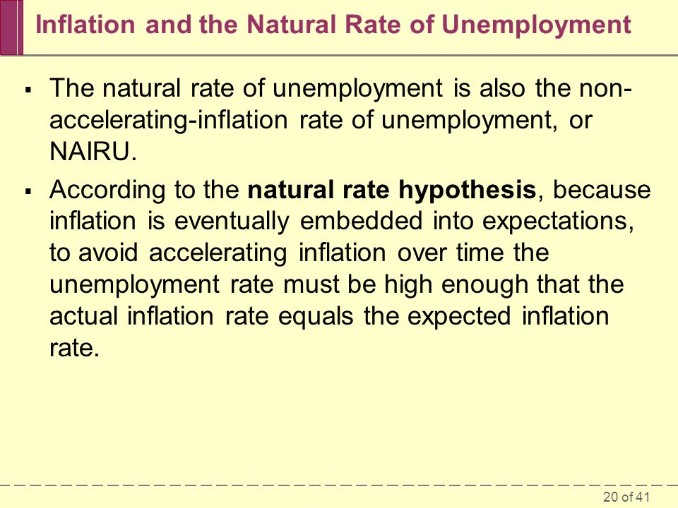 20 of 41 Inflation and the Natural Rate of Unemployment  The natural rate of unemployment is also the non- accelerating-inflation rate of unemploymen