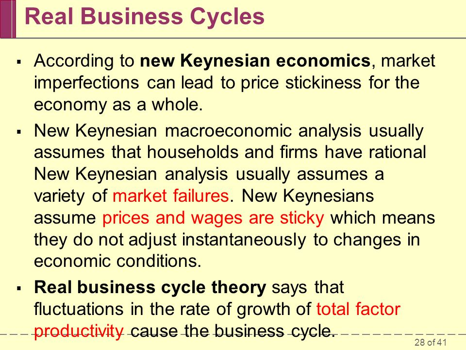 28 of 41 Real Business Cycles  According to new Keynesian economics, market imperfections can lead to price stickiness for the economy as a whole. 