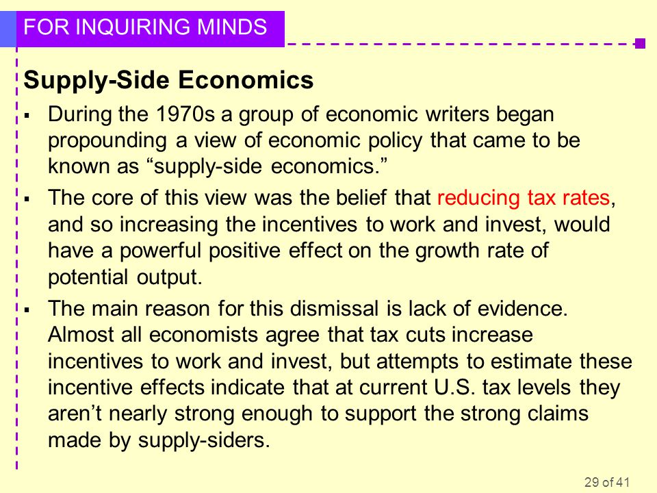 29 of 41 FOR INQUIRING MINDS Supply-Side Economics  During the 1970s a group of economic writers began propounding a view of economic policy that cam