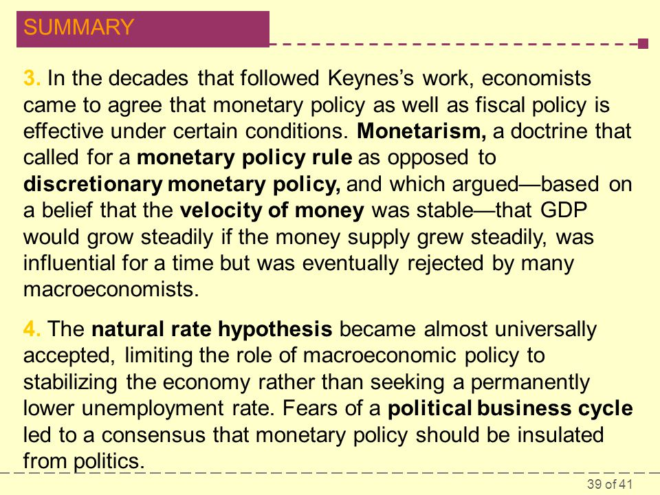 39 of 41 SUMMARY 3. In the decades that followed Keynes's work, economists came to agree that monetary policy as well as fiscal policy is effective un