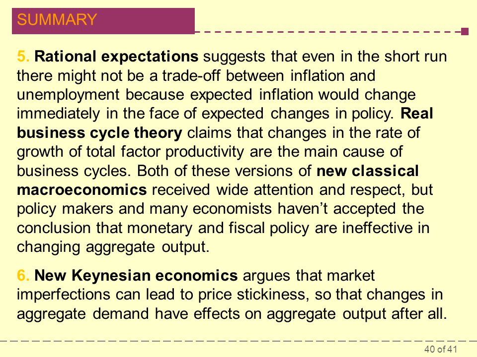 40 of 41 SUMMARY 5. Rational expectations suggests that even in the short run there might not be a trade-off between inflation and unemployment becaus