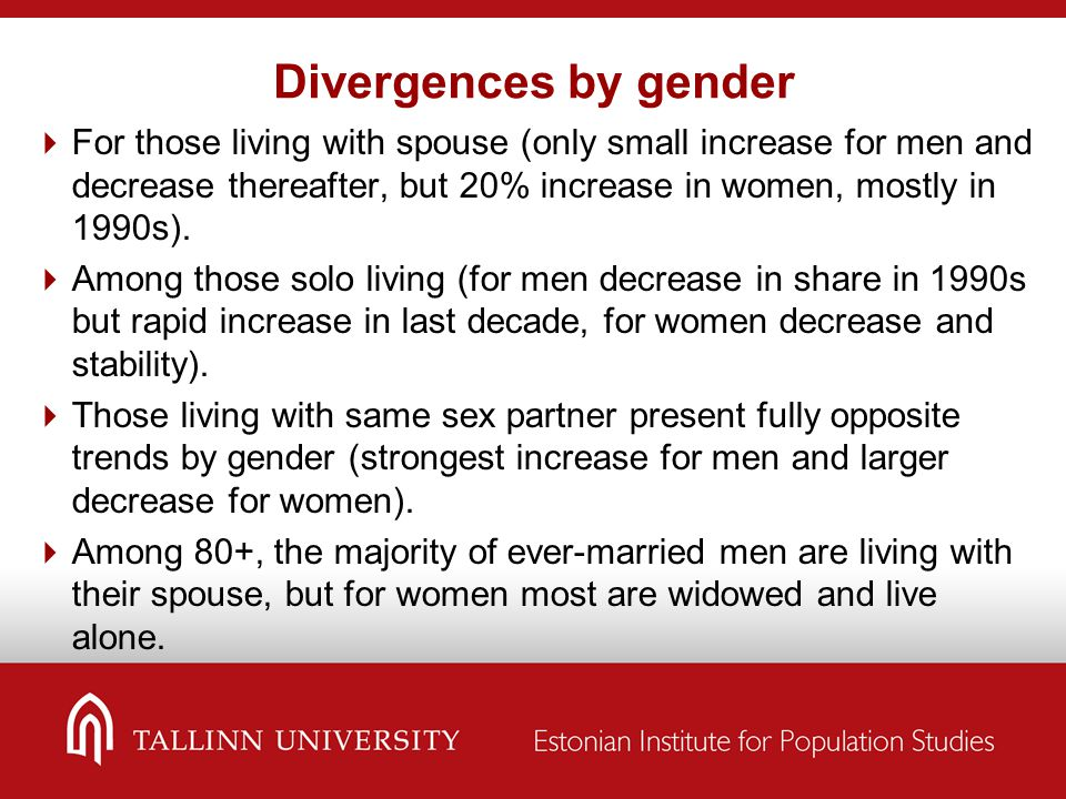 Divergences by gender  For those living with spouse (only small increase for men and decrease thereafter, but 20% increase in women, mostly in 1990s).