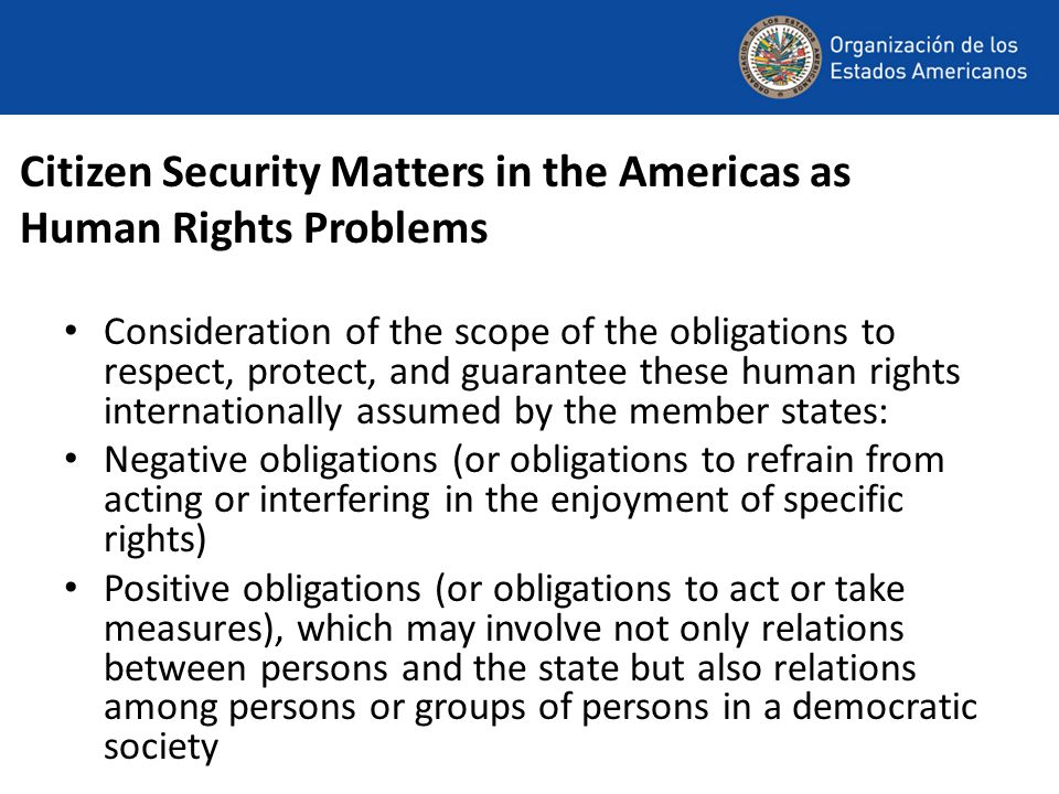 Citizen Security Matters in the Americas as Human Rights Problems Consideration of the scope of the obligations to respect, protect, and guarantee the