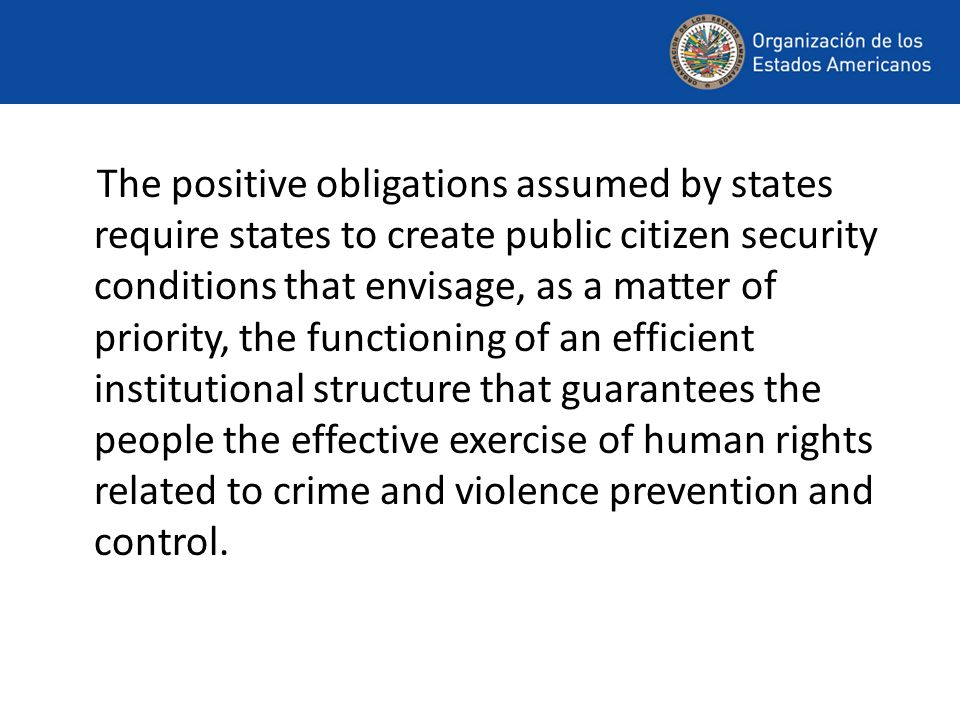 The positive obligations assumed by states require states to create public citizen security conditions that envisage, as a matter of priority, the functioning of an efficient institutional structure that guarantees the people the effective exercise of human rights related to crime and violence prevention and control.