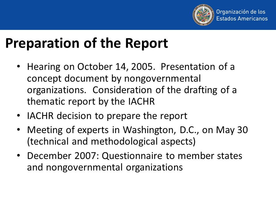 Preparation of the Report Hearing on October 14, 2005.