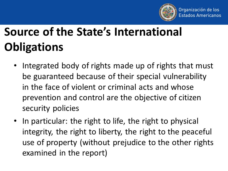 Source of the State's International Obligations Integrated body of rights made up of rights that must be guaranteed because of their special vulnerability in the face of violent or criminal acts and whose prevention and control are the objective of citizen security policies In particular: the right to life, the right to physical integrity, the right to liberty, the right to the peaceful use of property (without prejudice to the other rights examined in the report)