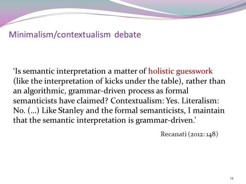 Modulation (Recanati 2004, 2005): The logical form becomes .