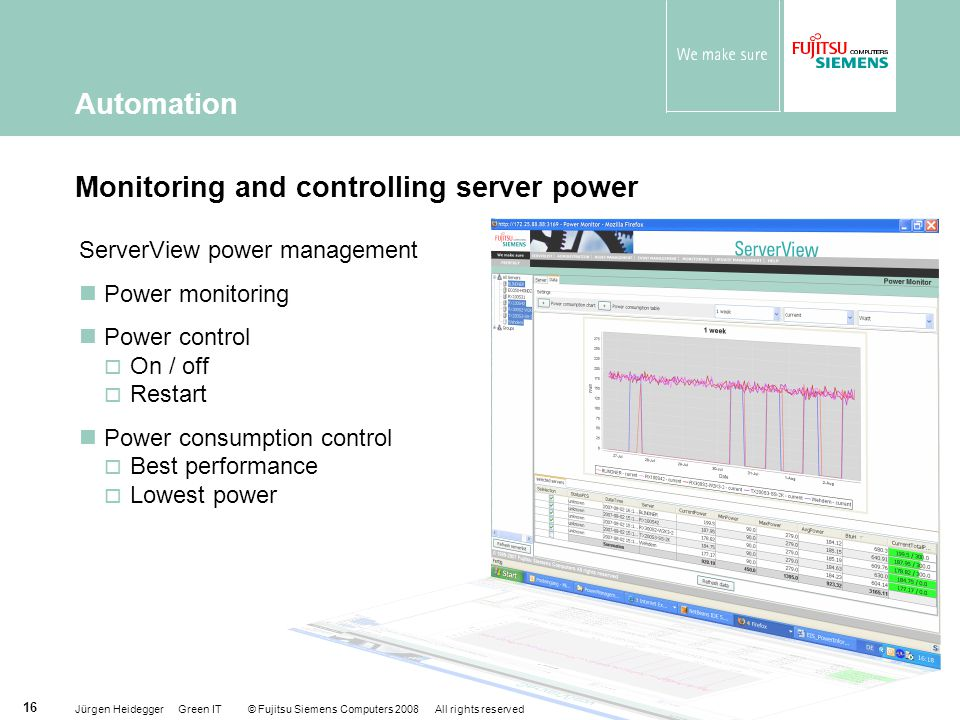 Jürgen Heidegger Green IT © Fujitsu Siemens Computers 2008 All rights reserved 16 Monitoring and controlling server power ServerView power management