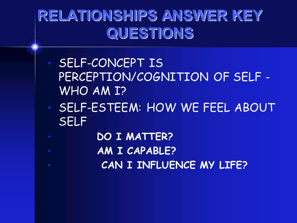 RELATIONSHIPS ANSWER KEY QUESTIONS SELF-CONCEPT IS PERCEPTION/COGNITION OF SELF - WHO AM I? SELF-ESTEEM: HOW WE FEEL ABOUT SELF DO I MATTER? AM I CAPA