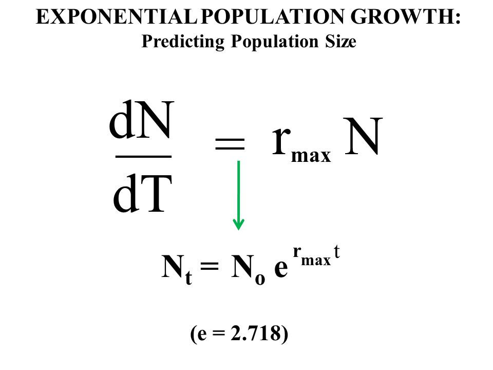 EXPONENTIAL POPULATION GROWTH: Predicting Population Size dN __ dT = r max N N t =N o e r max t (e = 2.718)